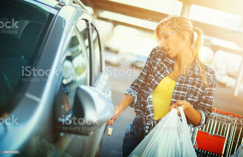 Shopping successfully done. stock photo