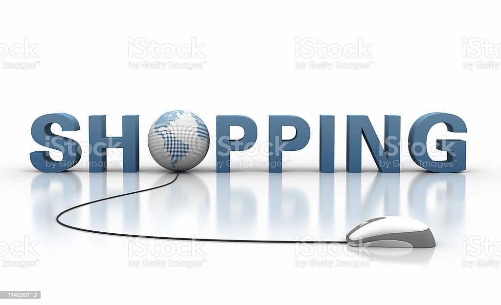Shopping Text with Earth Globe and Computer Mouse royalty-free stock photo