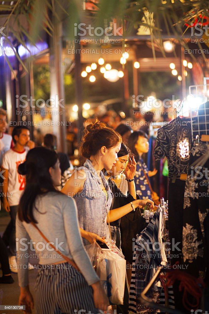 Shopping thai girls on JJ Green market stock photo