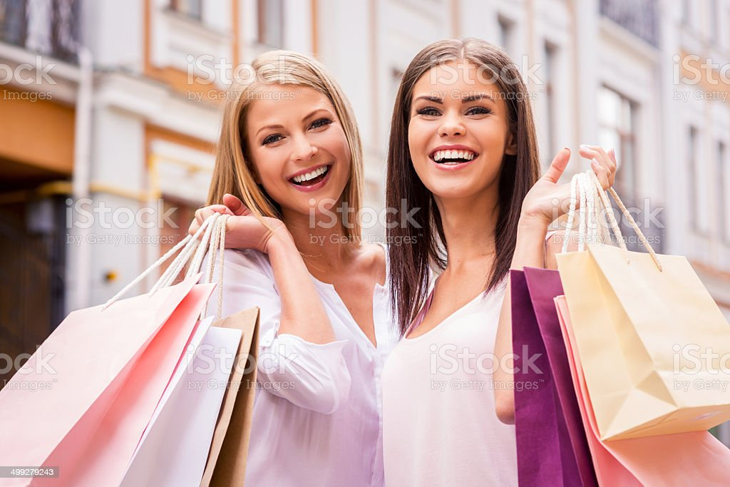 Shopping together is fun. stock photo
