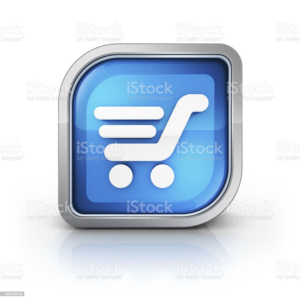 shopping trolley glossy icon royalty-free stock photo