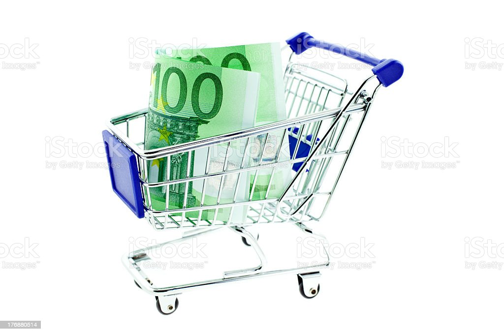 shopping trolley with 100 euro notes isolated royalty-free stock photo
