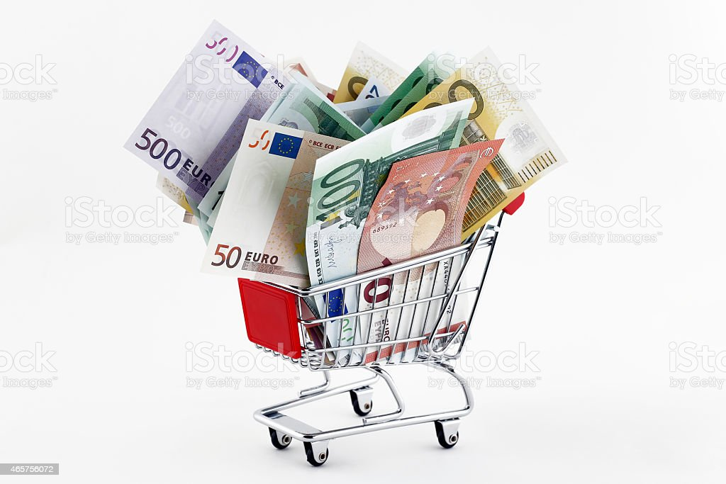 Shopping Trolley with Euro Banknotes stock photo