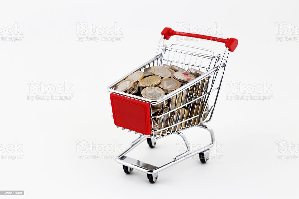 Shopping Trolley with Money stock photo