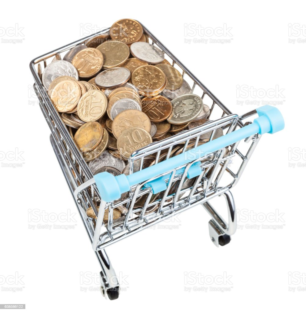 shopping trolley with russian coins isolated stock photo