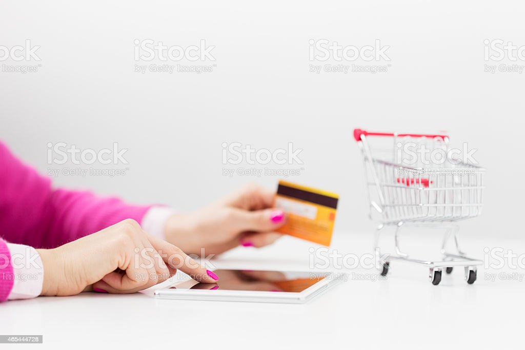 Shopping using tablet computer stock photo
