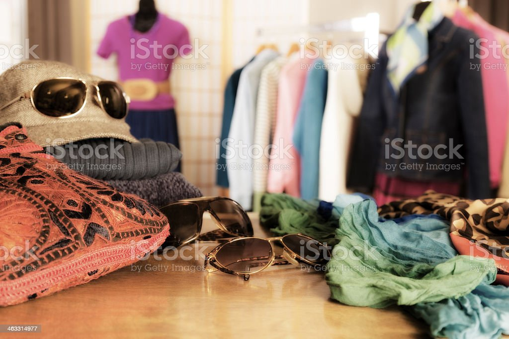 Shopping: Window display in clothing boutique. stock photo