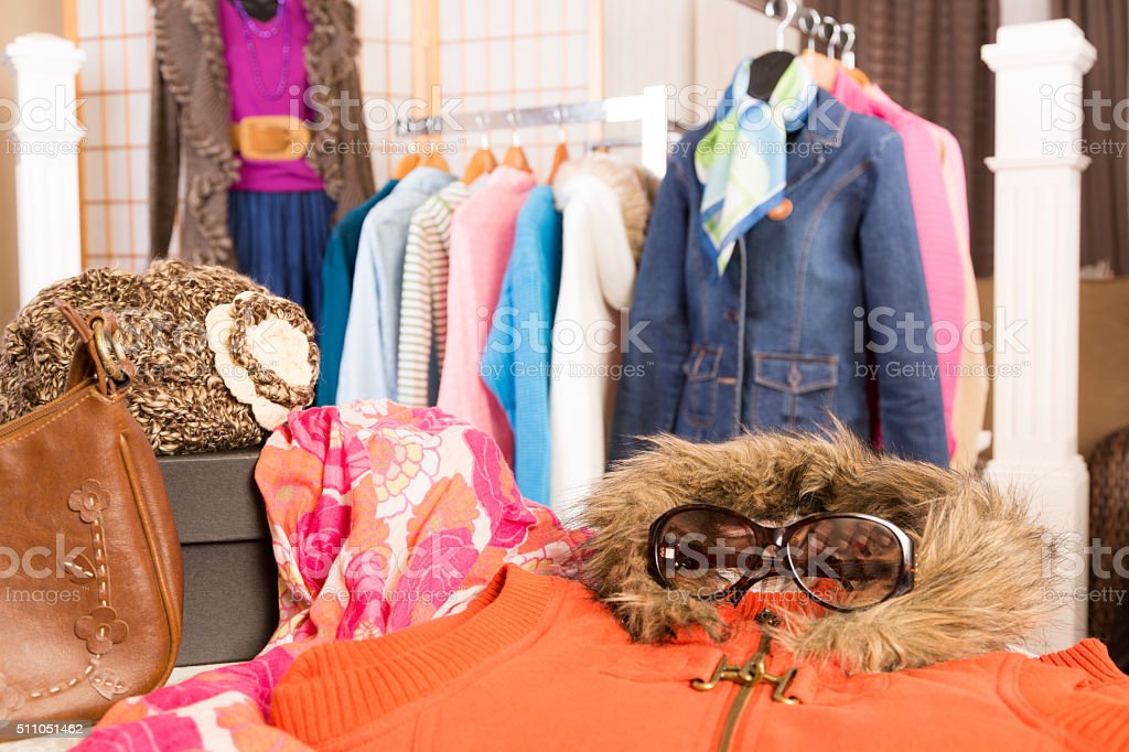 Shopping: Window display in clothing boutique. Winter clothes. stock photo
