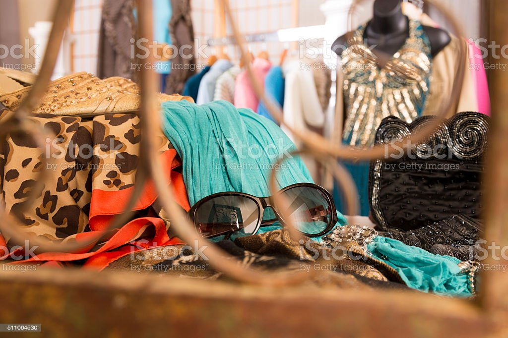 Shopping: Window display in upscale clothing boutique. Formal attire. stock photo