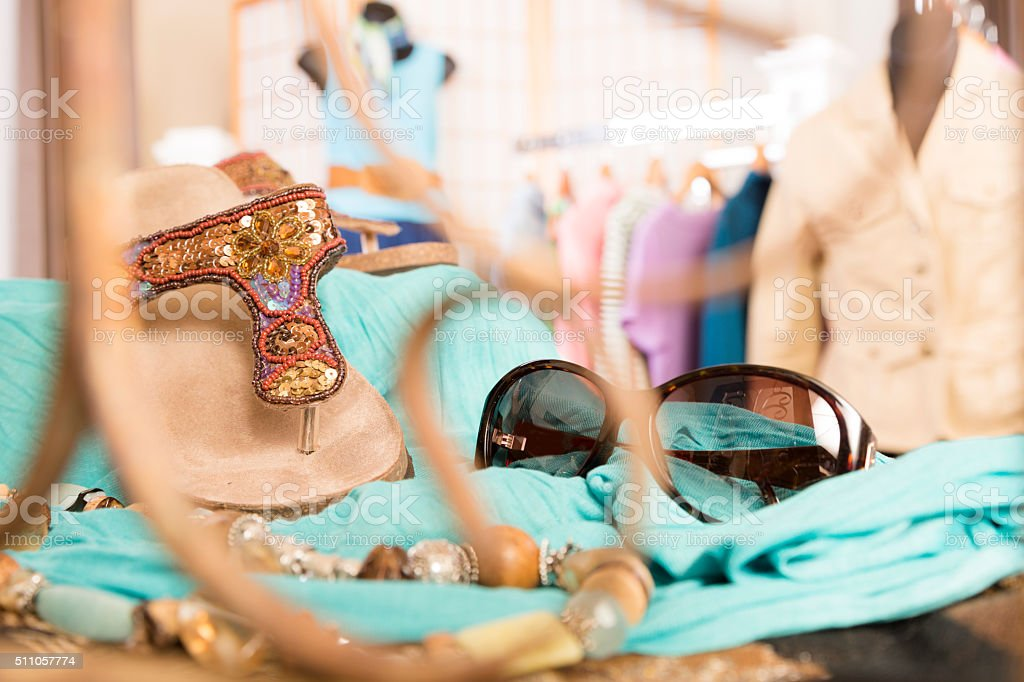 Shopping: Window display in upscale clothing boutique. stock photo