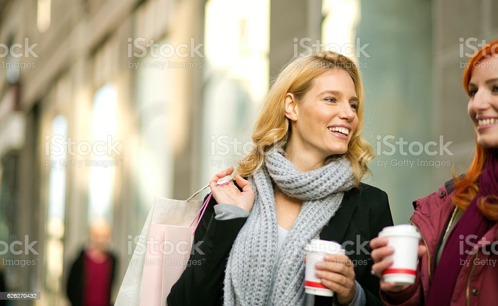 Shopping with a friend. stock photo