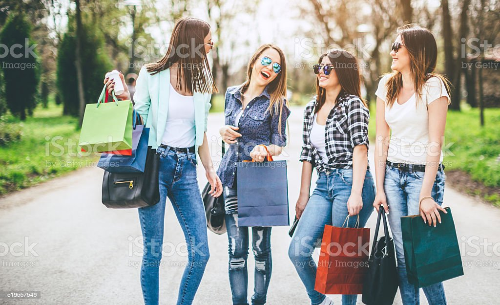 shopping with friends stock photo