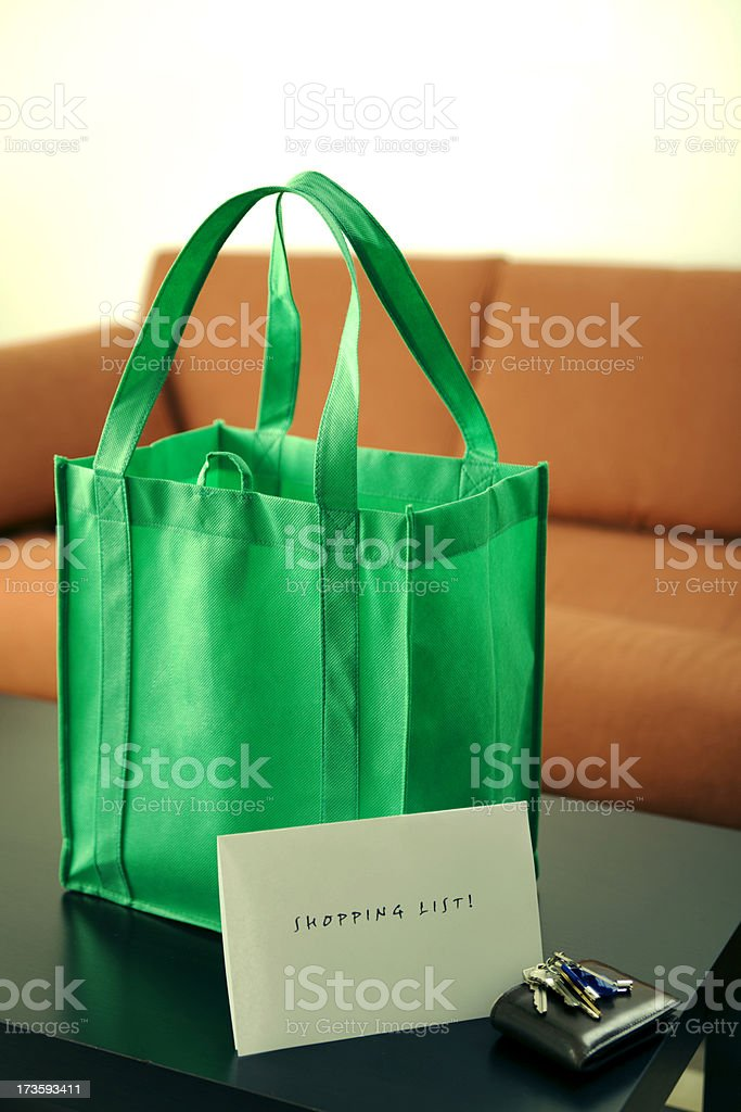 Shopping with reusable bag royalty-free stock photo