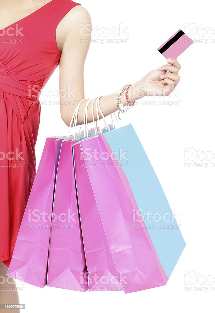 Shopping woman happy take credit card royalty-free stock photo