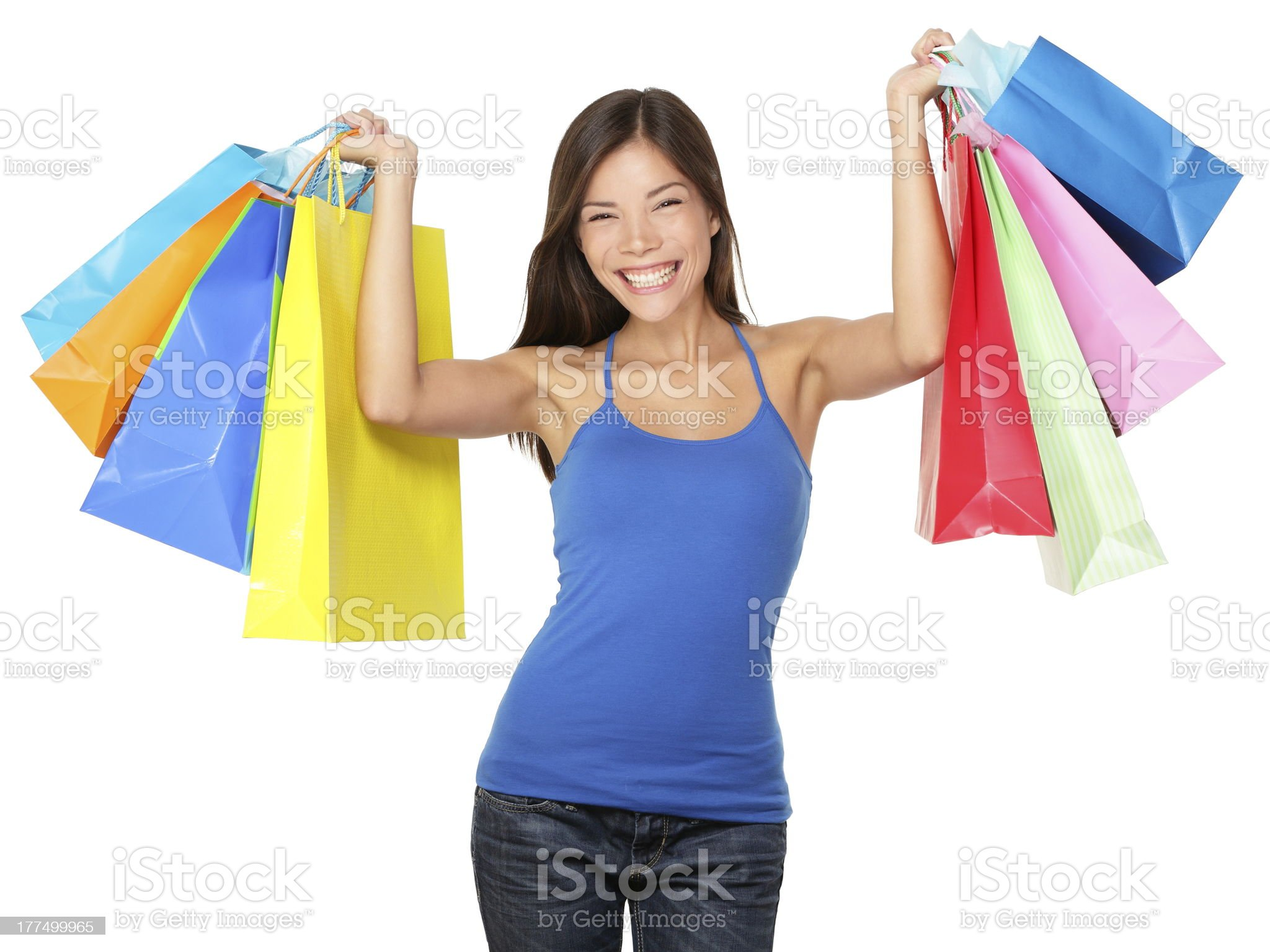 Shopping woman holding colorful bags royalty-free stock photo