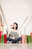 shopping woman show credit card