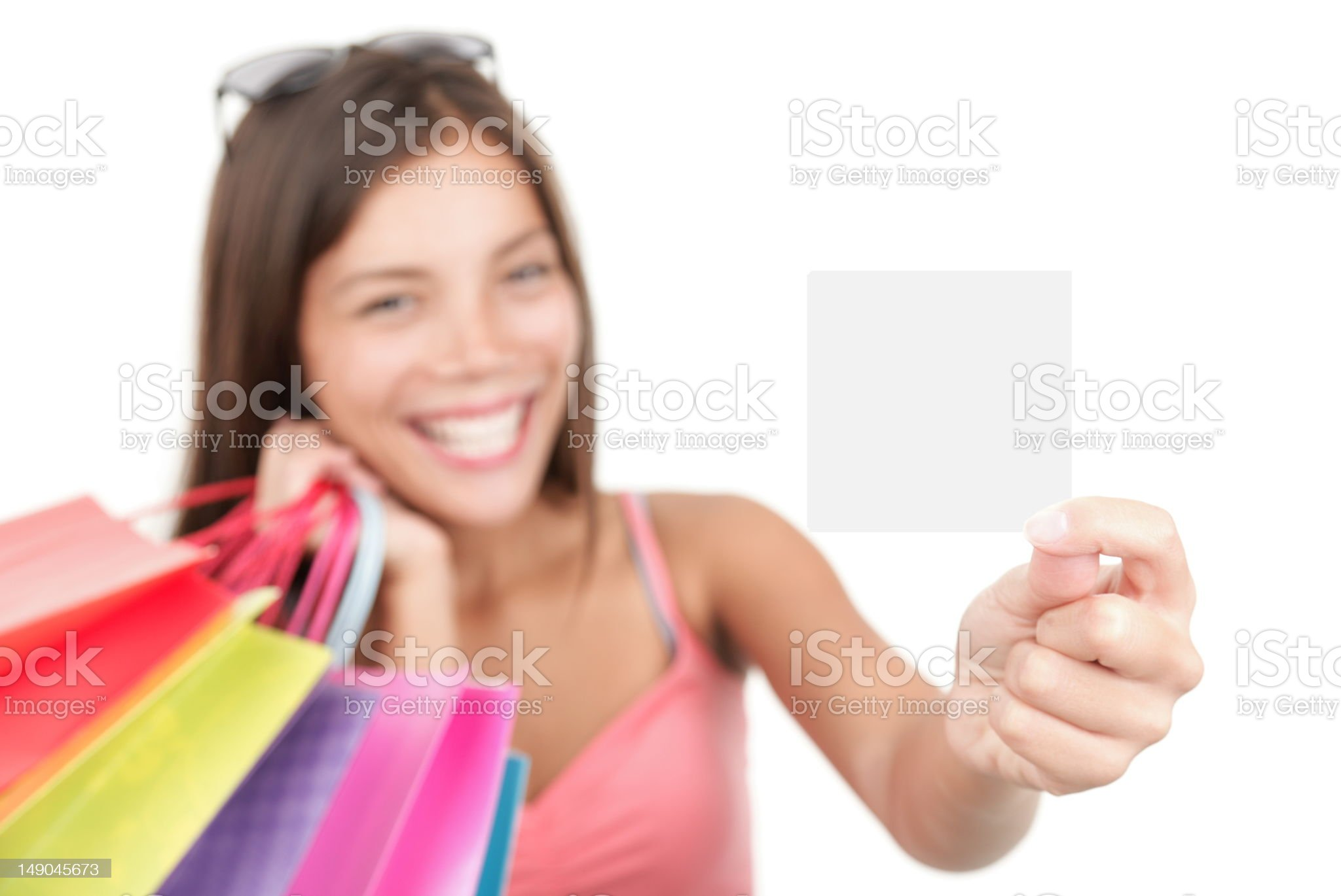 Shopping woman showing sign royalty-free stock photo
