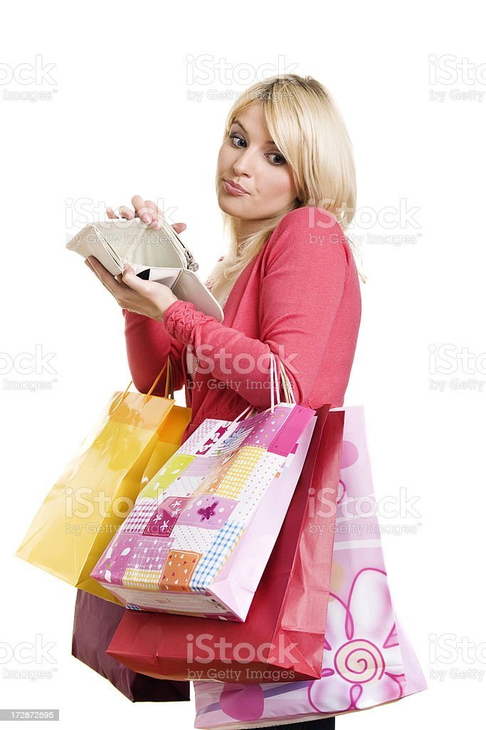 Shopping Woman with empty wallet royalty-free stock photo
