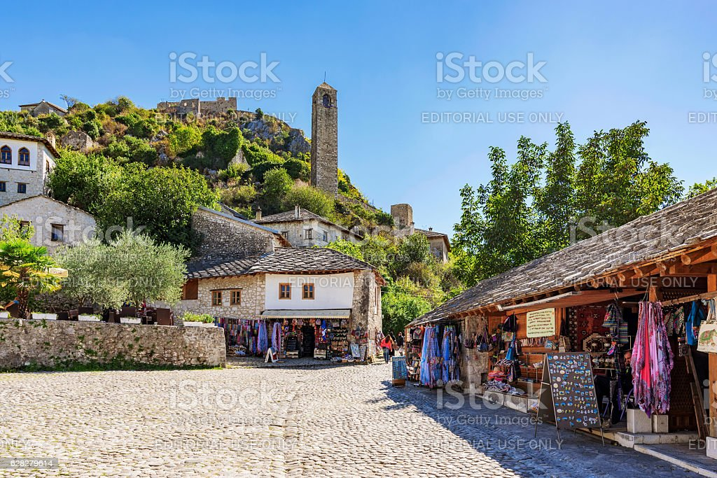 Shops and ancient architecture in stock photo