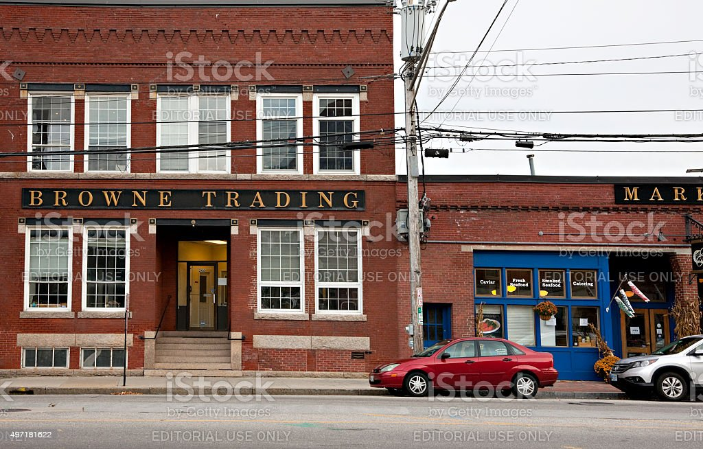 Shops and historic buildings in Portland, Maine stock photo