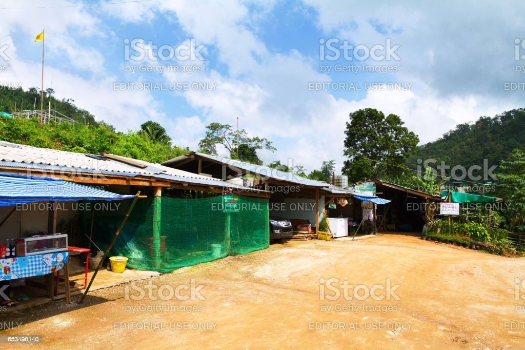 Shops and houses in Myanmar near Thailand stock photo