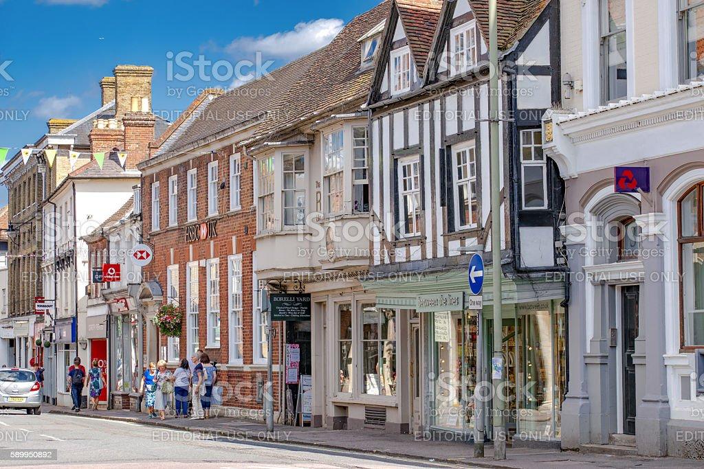 Shops and retail facilities in The Borough, Farnham stock photo