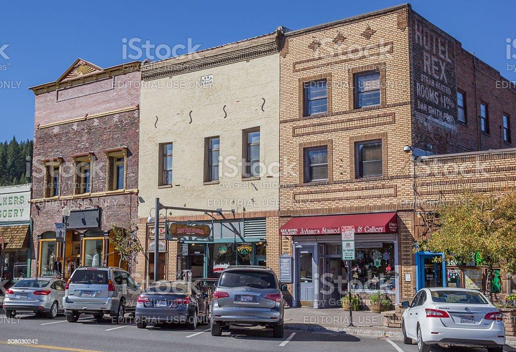 Shops at main street Truckee stock photo