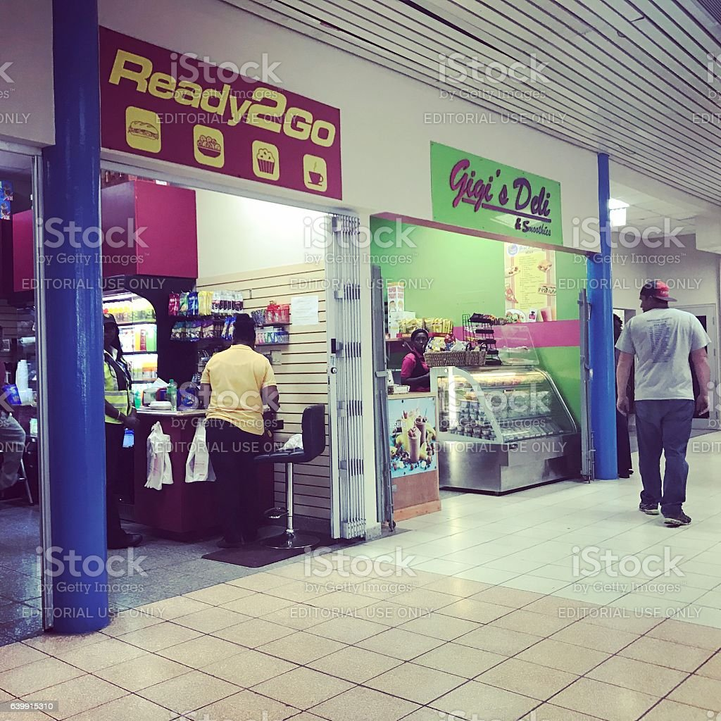 Shops at Providenciales Airport, Turks and Caicos stock photo