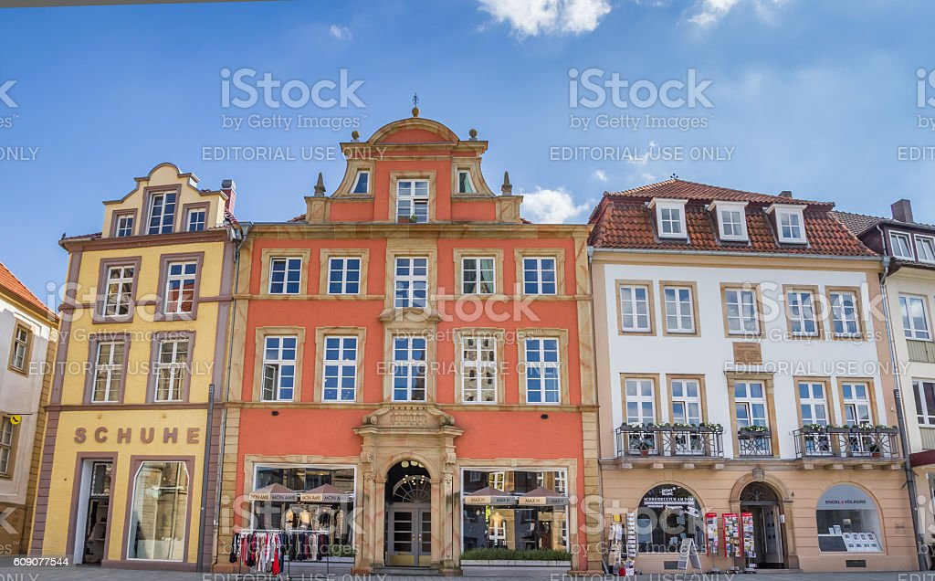 Shops at the central market square of Paderborn stock photo
