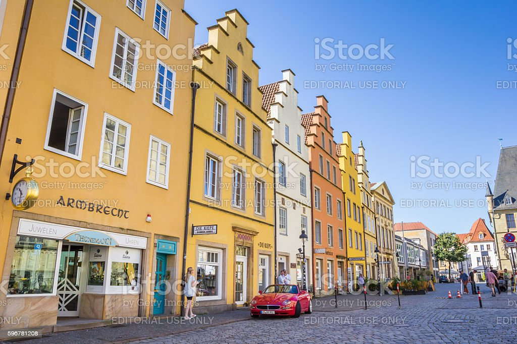 Shops at the colorful market square of Osnabruck stock photo
