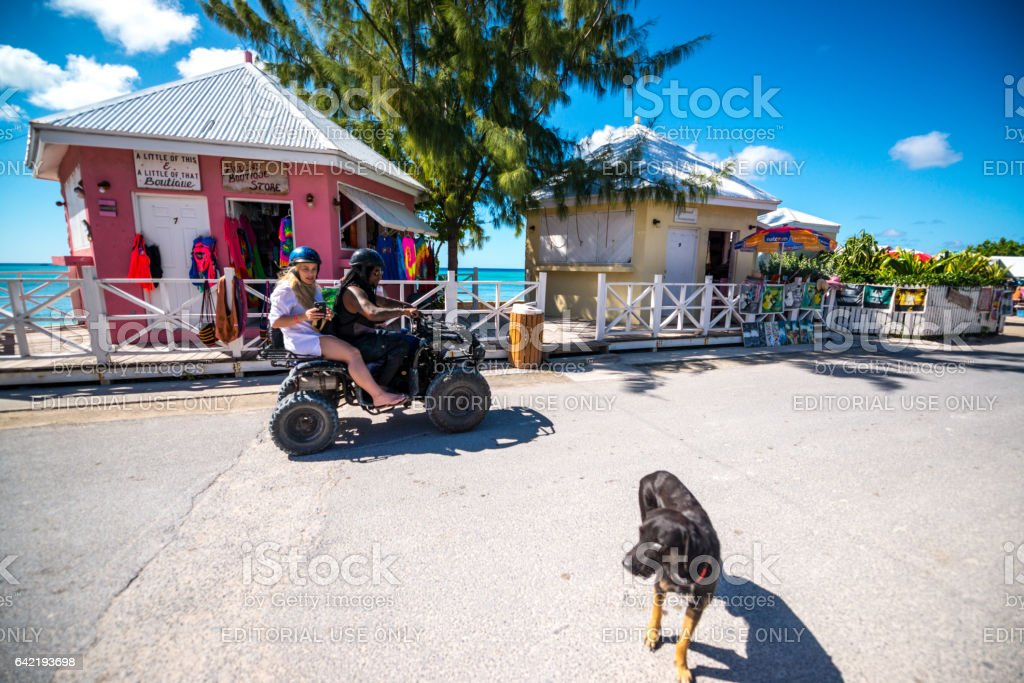 Shops for tourists in historic downtown of Cockburn Town, capital of Turks and Caicos Islands stock photo