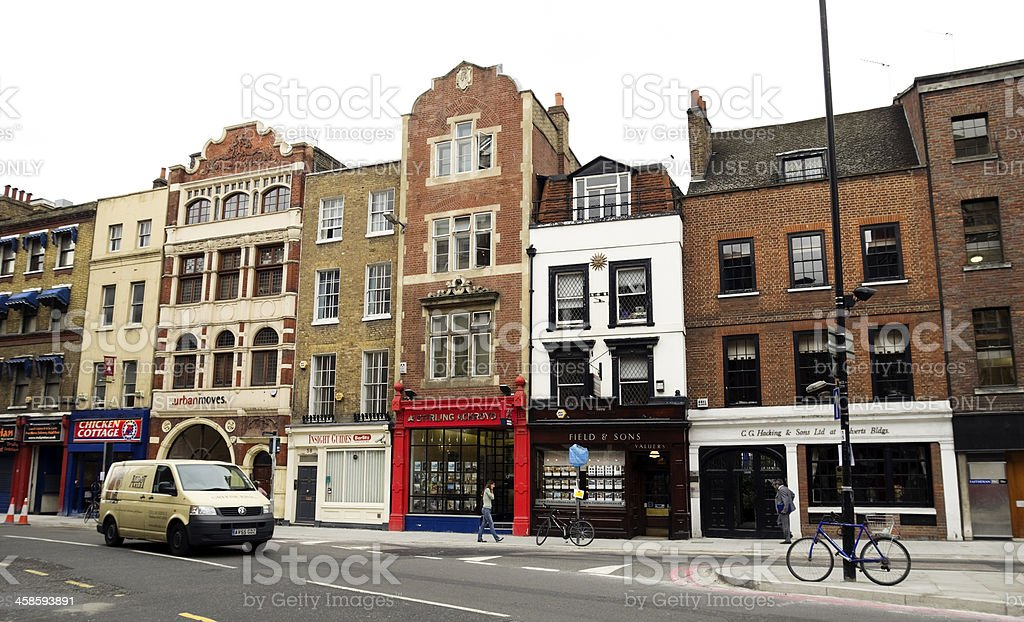Shops in Borough High Street, London royalty-free stock photo