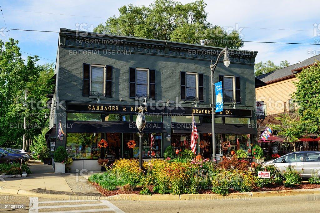 Shops in downtown Douglas, Michigan stock photo