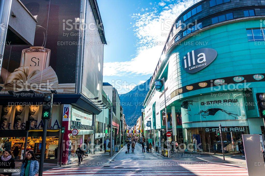 shops in Escaldes Engordany andorra la vella day stock photo