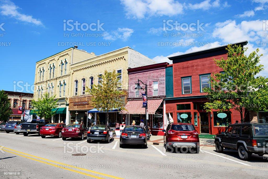 Shops in Grand Haven, Michigan stock photo