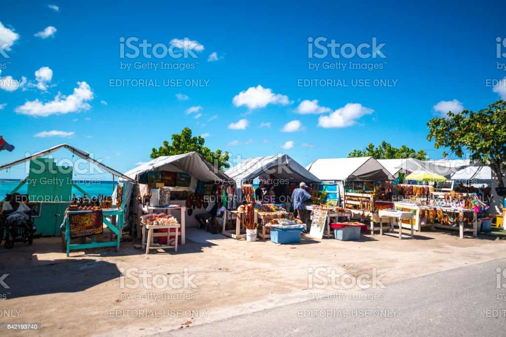 Shops in Historic downtown of Cockburn Town, capital of Turks and Caicos Islands stock photo