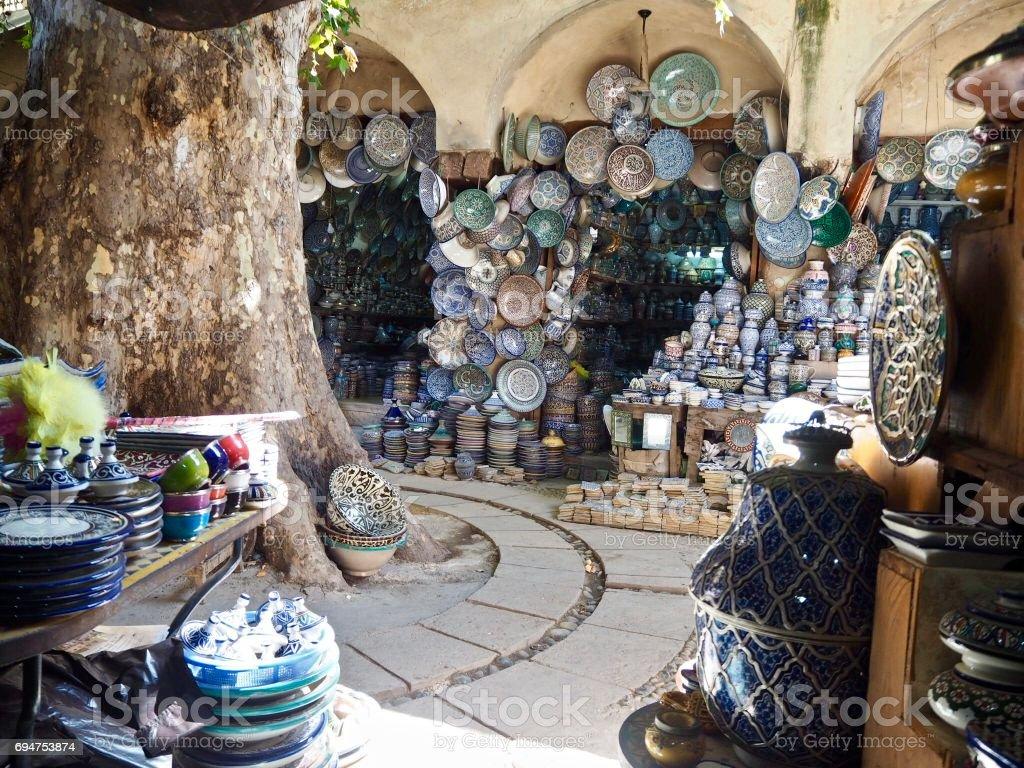 Shops in the medina in Fez stock photo