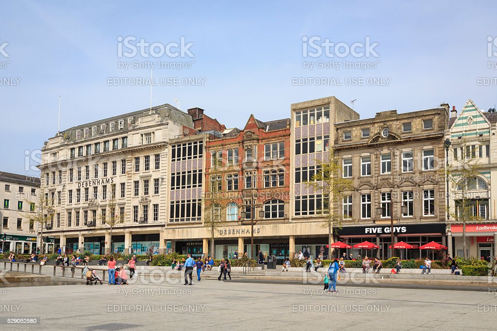Shops in The Old Market Square in Nottingham stock photo