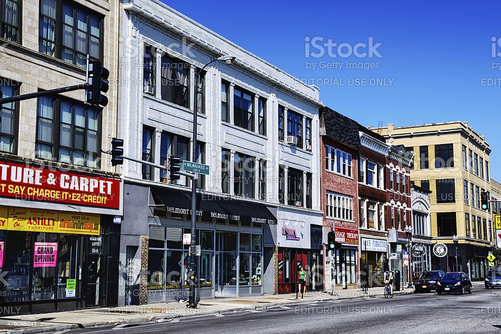 Shops in Wicker Park, Chicago stock photo