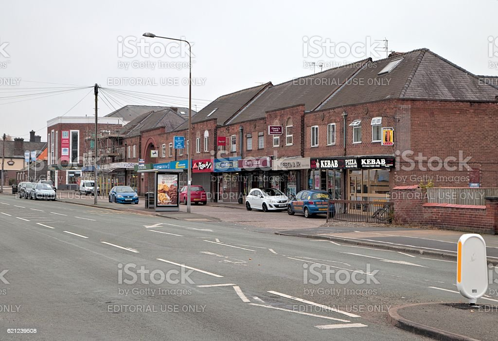 Shops on Christleton Road, Chester stock photo