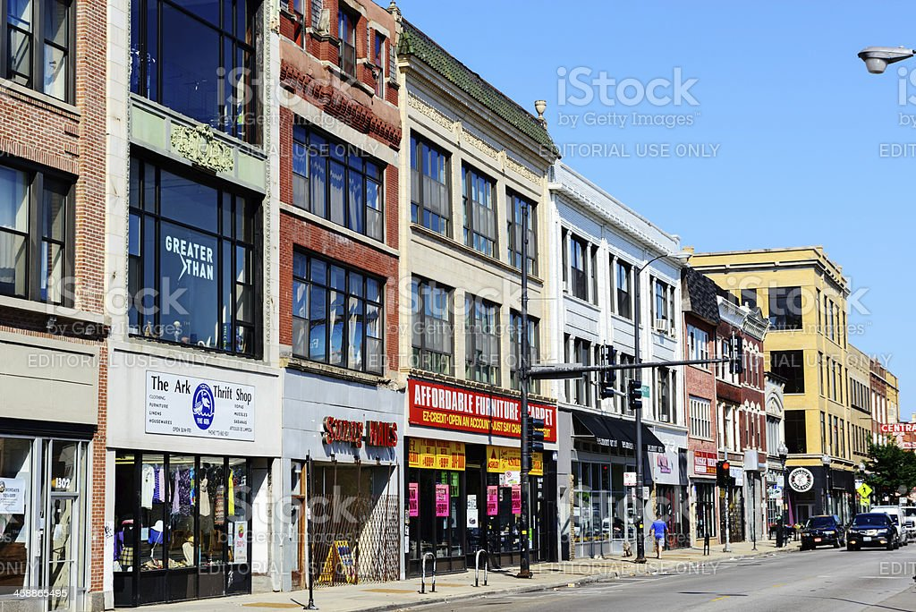 Shops on Milwaukee Avenue in Wicker Park, Chicago stock photo