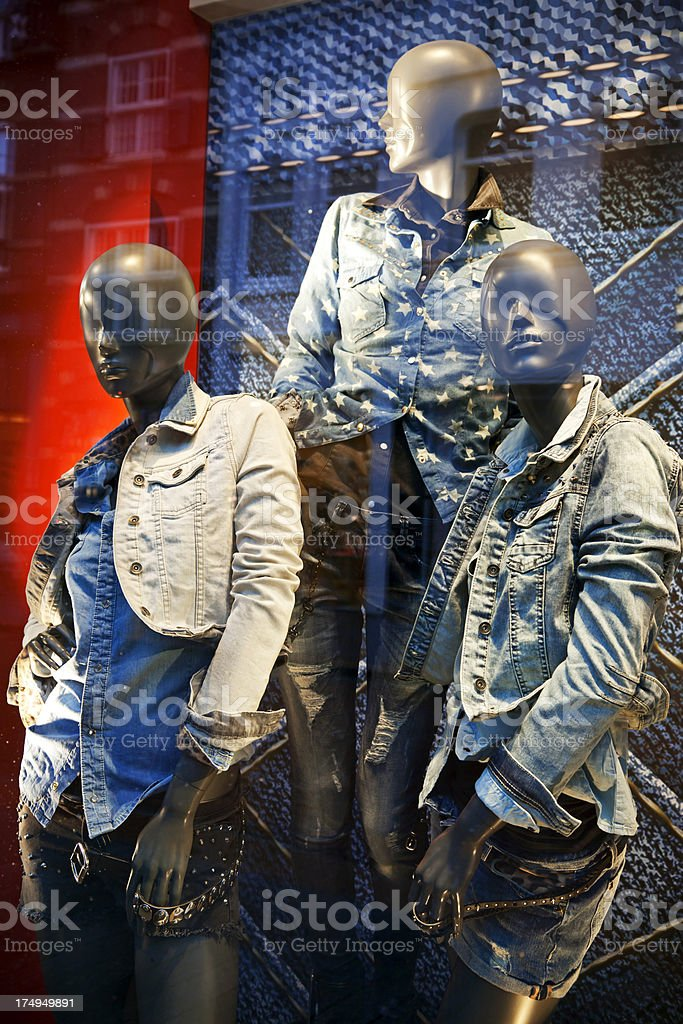 Shopwindow with casual clothing royalty-free stock photo