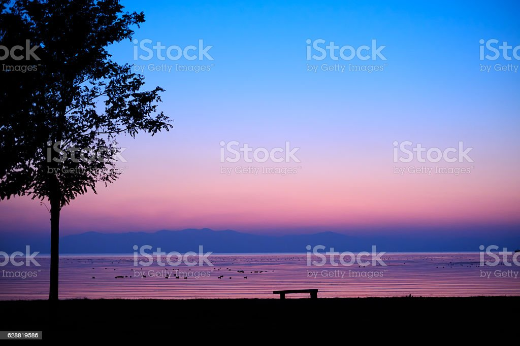 Shore after the sunset stock photo