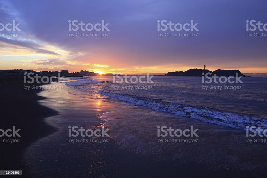 Shore and Enoshima of the morning glow royalty-free stock photo