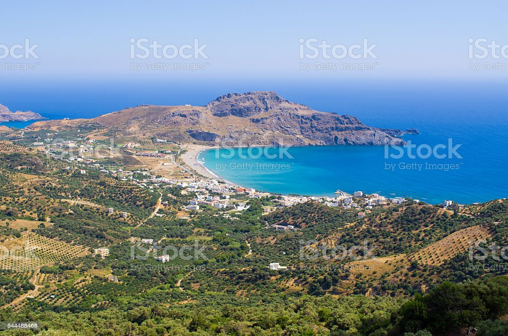 Shore and Plakias town on Crete - Greece stock photo