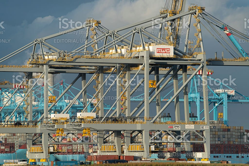 Shore cranes for container handling, Rotterdam, The Netherlands stock photo