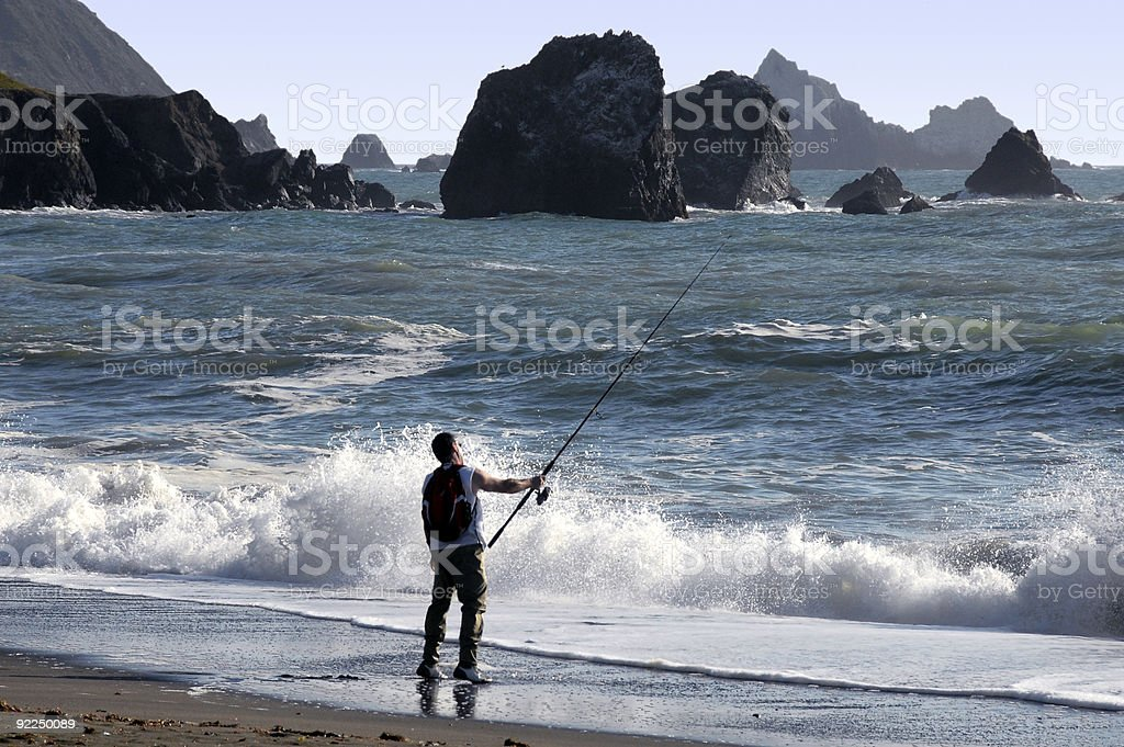 Shore Fisherman stock photo
