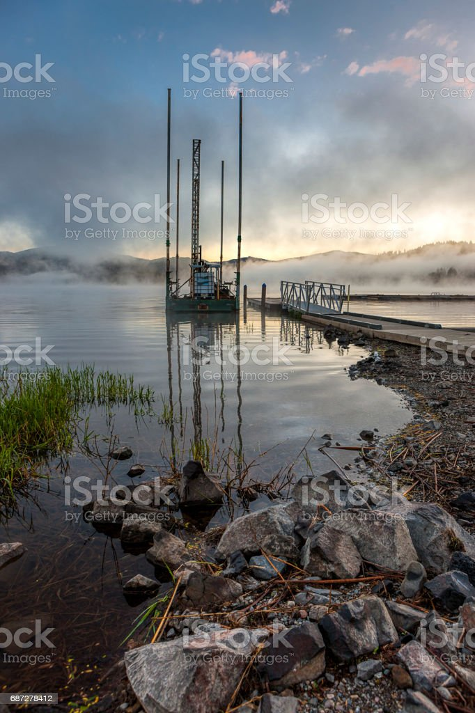 Shore of Hauser Lake, Idaho. stock photo