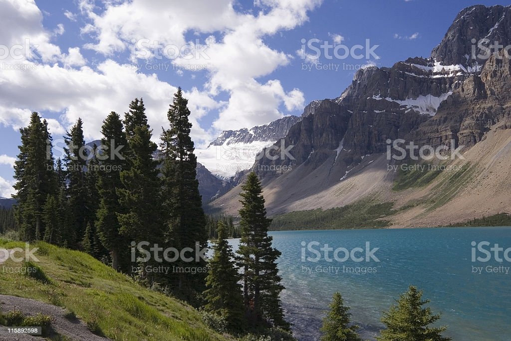 shore of the bow lake and view to crowfoot glacier stock photo