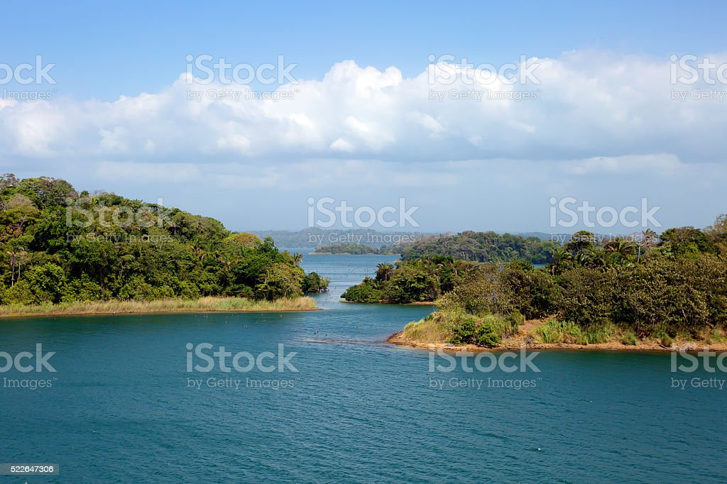 Shore of the Panama canal. stock photo